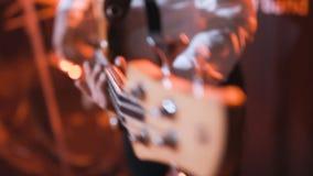 Chiuda su Bass Guitarist stock footage