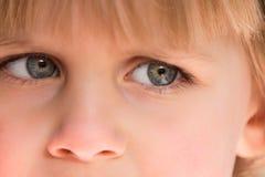 Chiuda in su degli occhi azzurri della bambina Fotografia Stock