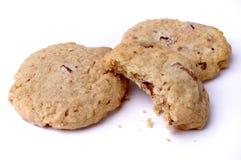 Chiuda in su dei biscotti di pepita di cioccolato immagini stock libere da diritti