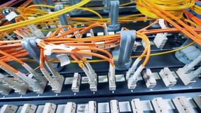 Chiuda su dei cavi collegati e dei server di dati stock footage
