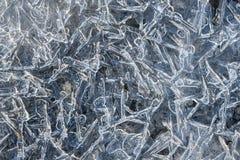 Chiuda in su dei cristalli di ghiaccio Fotografie Stock