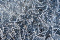 Chiuda in su dei cristalli di ghiaccio Immagini Stock Libere da Diritti