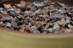 Chiuda su dei fagioli tostati del cacao in una ciotola fotografia stock libera da diritti