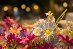 Chiuda su dei fiori falsi sui precedenti astratti vaghi Fotografia Stock Libera da Diritti