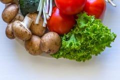 Chiuda su dei funghi e dei pomodori dell'aneto dei pomodori Immagine Stock