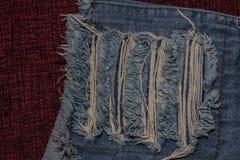Chiuda su dei jeans di modo, fuoco selezionato Fotografie Stock
