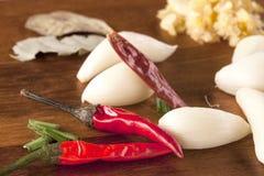 Chiuda su dei peperoni e dell'aglio Fotografie Stock Libere da Diritti