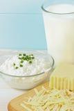 Chiuda in su dei prodotti freschi del formaggio e del latte Fotografie Stock Libere da Diritti
