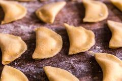 Chiuda su dei ravioli italiani casalinghi della pasta fotografie stock libere da diritti