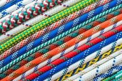 Chiuda su dei tipi differenti di corde Fotografia Stock Libera da Diritti