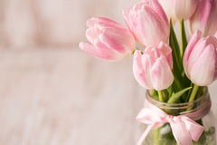 Chiuda su dei tulipani pastelli rosa e bianchi in vaso di vetro del barattolo con Immagine Stock Libera da Diritti