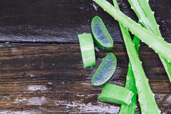 Chiuda su del aloevera su fondo di legno bagnato Fotografie Stock Libere da Diritti
