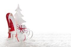 Chiuda su del Babbo Natale con la slitta e presenti Immagine Stock Libera da Diritti