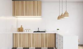 Chiuda su del contatore di cucina di legno leggero royalty illustrazione gratis