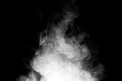 Chiuda su del fumo del vapore su fondo nero Fotografia Stock Libera da Diritti
