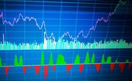 Chiuda su del grafico commerciale di finanza Dati del mercato azionario fotografia stock