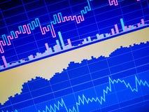 Chiuda su del grafico commerciale di finanza Dati del mercato azionario illustrazione di stock