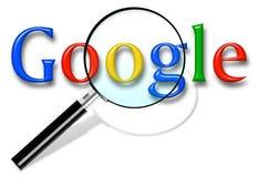 Chiuda su del homepage di ricerca con Google ed il cursore sullo schermo Google ? mondi illustrazione di stock