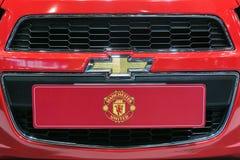 Chiuda su del logo di Chevrolet e dell'etichetta al trentacinquesimo salone dell'automobile internazionale di Bangkok, bellezza di Fotografie Stock