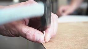 Chiuda su del martellamento del chiodo nel bordo di legno, attività di carpenteria metraggio Mani dell'uomo che martellano un chi archivi video