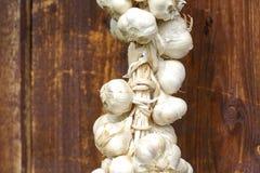 Chiuda su del mazzo di allium sativum bianco dell'aglio Tempo di raccolta asciugandosi sul fondo di legno Attaccatura da asciugar Fotografie Stock