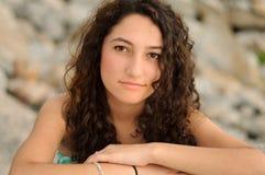 Chiuda su del modello adolescente alla spiaggia Immagine Stock Libera da Diritti