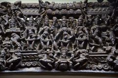 Chiuda su del pannello scolpito, il museo di Kelkar, Pune, la maharashtra, India Immagine Stock Libera da Diritti