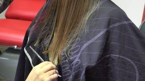 Chiuda su del parrucchiere che dà un nuovo taglio di capelli al cliente femminile al salone 4K archivi video