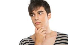 Chiuda in su del ragazzo teenager che osserva da parte. Fotografia Stock Libera da Diritti