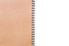 Chiuda su del taccuino marrone con la coclea Fotografia Stock Libera da Diritti
