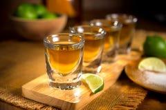 Chiuda su del volo tradizionale dei colpi di tequila dell'agave con le calce ed il sale tagliati Fotografia Stock