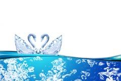 Chiuda su dell'acqua di cristallo nella forma del cigno di amore delle coppie Fotografia Stock