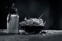 Chiuda su dell'allium sativum, aglio con il suo olio in una bottiglia trasparente Immagine Stock