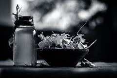 Chiuda su dell'allium sativum, aglio con il suo olio in una bottiglia trasparente Fotografia Stock Libera da Diritti