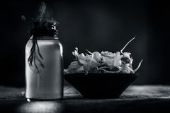 Chiuda su dell'allium sativum, aglio con il suo olio in una bottiglia trasparente Immagini Stock Libere da Diritti