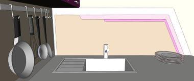 Chiuda su dell'angolo porpora e marrone della cucina con il lavandino, lo scaffale del vaso della parete, i piatti e la pittura d Immagine Stock