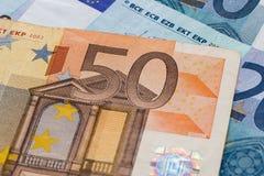 Chiuda su dell'euro cinquanta Immagini Stock Libere da Diritti