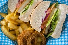 Chiuda su dell'hamburger affettato con le patate fritte e gli anelli di cipolla Fotografia Stock