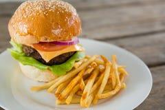Chiuda su dell'hamburger e delle patate fritte in piatto Immagini Stock Libere da Diritti
