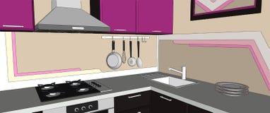 Chiuda su dell'interno viola e marrone contemporaneo dell'angolo della cucina con il cappuccio, il cooktop, il lavandino e gli ap Fotografia Stock