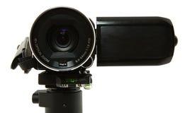 Chiuda in su dell'obiettivo della videocamera portatile Fotografia Stock Libera da Diritti