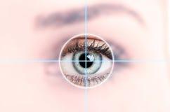 Chiuda su dell'occhio azzurro femminile esplorato per accesso Immagini Stock Libere da Diritti