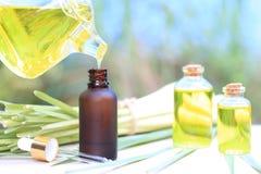 Chiuda su dell'olio essenziale di versamento della citronella alle bottiglie di vetro su fondo verde naturale immagine stock