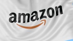 Chiuda su della bandiera d'ondeggiamento con Amazon logo di COM, ciclo senza cuciture, fondo blu Animazione editoriale 4K ProRes, video d archivio