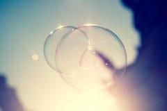 Chiuda su della bolla di sapone scintillante alla luce di sera del tramonto di Dresda in Germania Fotografia Stock Libera da Diritti