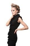 Chiuda su della donna bionda con l'acconciatura di modo Immagine Stock Libera da Diritti