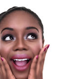 Chiuda su della donna emozionante del vincitore su bianco con lo spazio della copia Fotografia Stock Libera da Diritti