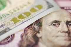 Chiuda su della fattura di soldi del dollaro dell'americano degli S.U.A. 100 Fotografia Stock Libera da Diritti
