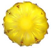 Chiuda in su della fetta dell'ananas su priorità bassa bianca Fotografie Stock Libere da Diritti