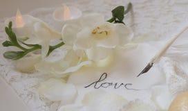 Chiuda su della piuma d'oca che scrive l'amore su un tovagliolo bianco, con i fiori e le candele fotografia stock